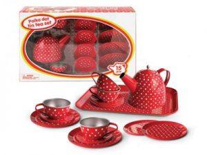 Children's Tea Set | Red Polka Dot Tin Tea Set