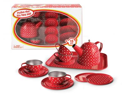 Children's Tea Set | Red Polka Dot Tin Tea Set