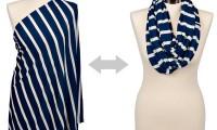 Itzy Ritzy| Breastfeeding Scarf| Nantucket Navy and Cream Stripe