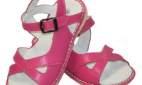 Skeanie | Cross Over Leather Sandals | Fushia