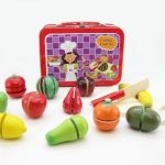 Wooden Fruit Cutting Set in Tin Box
