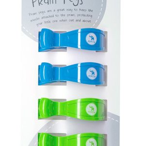 Pram Pegs | 4 Pack | Fluro Green and Blue