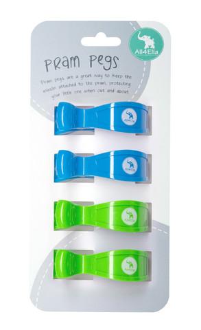 Pram Pegs | 4 Pack | Fluro Green and Blue