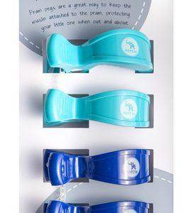 Pram Pegs   4 pack   Light Blue and Navy