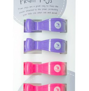 Pram Pegs | Fluro Pink and Purple | Pack of 4