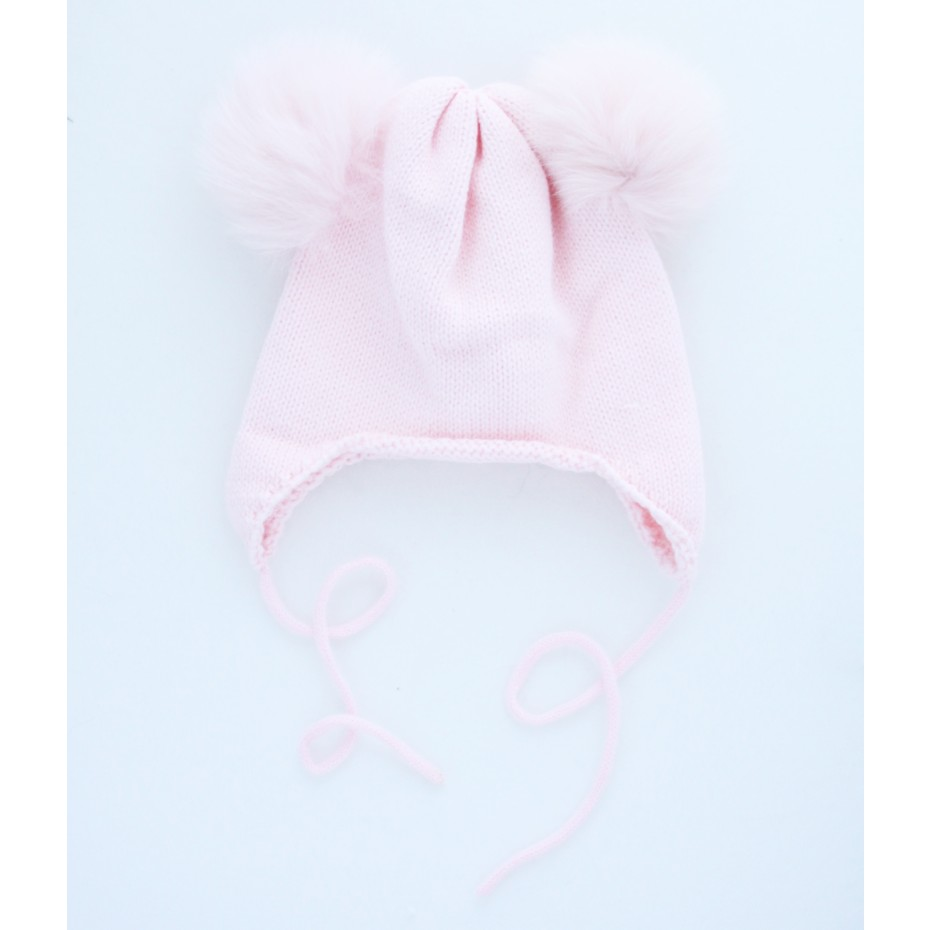 1ef89f39e Little Circus | Baby Beanie with two pom poms and tie | Pink ...