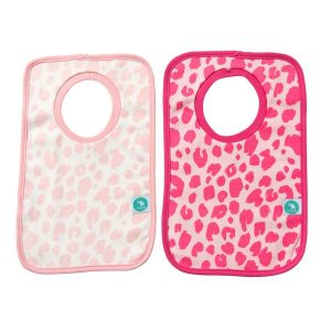 Bibs- leopard pink and white